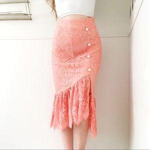 Foxiedox • Pink Lace Ruffle Midi Skirt